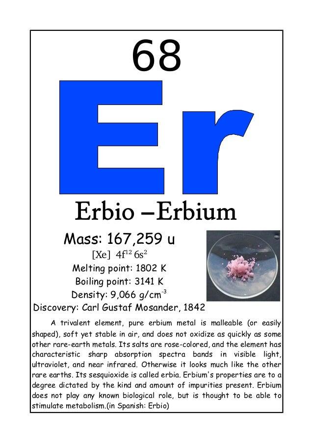 68Erbio –ErbiumMass: 167,259 u[Xe]4f126s2Melting point: 1802 KBoiling point: 3141 KDensity: 9,066 g/cm-3Discovery: Carl...