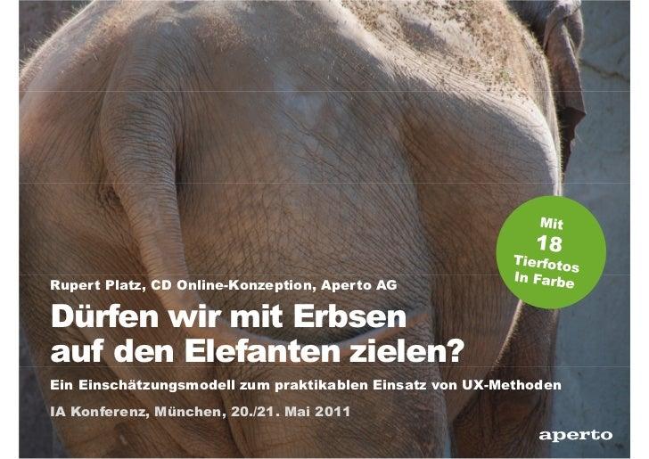 Rupert Platz, CD Online-Konzeption, Aperto AGDürfen wir mit Erbsenauf den Elefanten zielen?Ein Einschätzungsmodell zum pra...