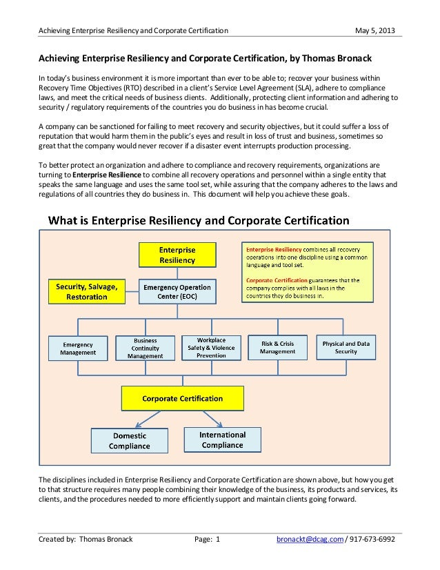 Achieving Enterprise Resiliency and Corporate Certification May 5, 2013Created by: Thomas Bronack Page: 1 bronackt@dcag.co...