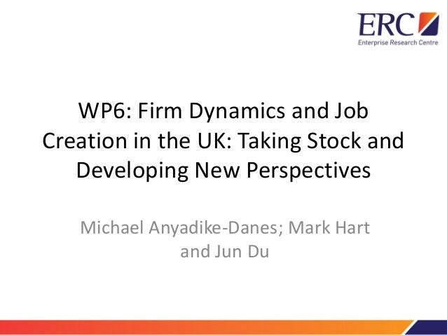 WP6: Firm Dynamics and Job Creation in the UK: Taking Stock and Developing New Perspectives Michael Anyadike-Danes; Mark H...