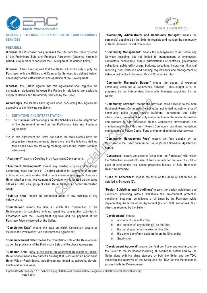 Erc Standard Utilities Supply Agreement 439