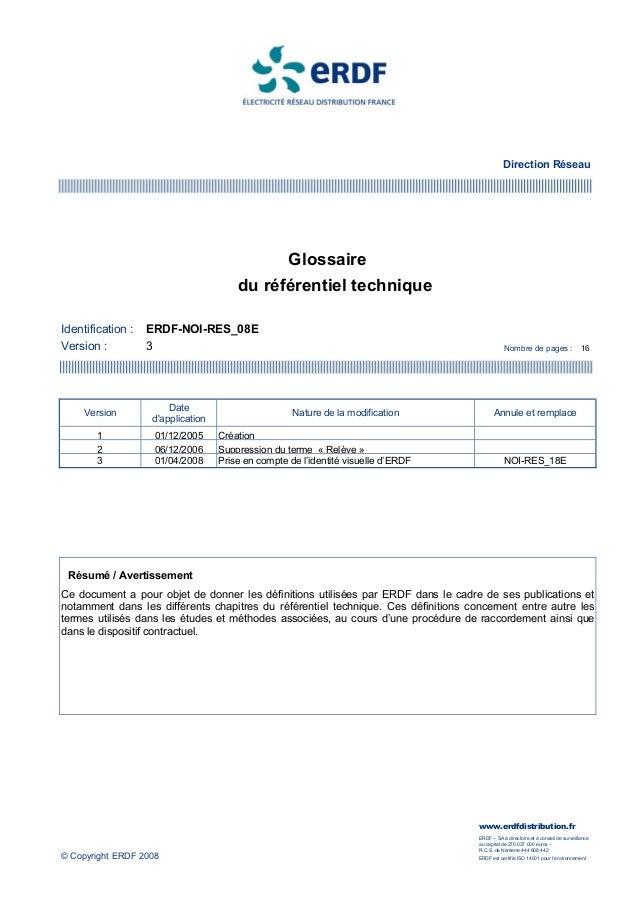 Direction Réseau                                                   Glossaire                                       du réfé...