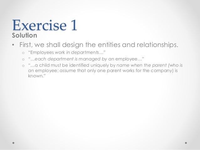 Erd practice exercises