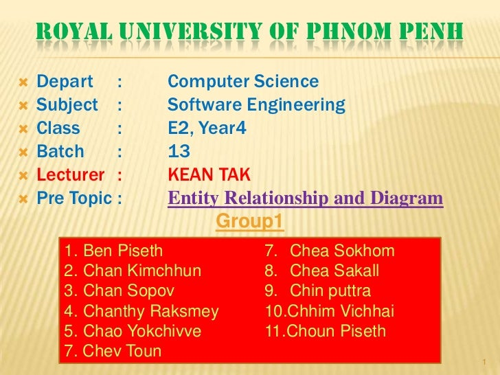 ROYAL UNIVERSITY OF PHNOM PENH   Depart :       Computer Science   Subject :      Software Engineering   Class     :   ...