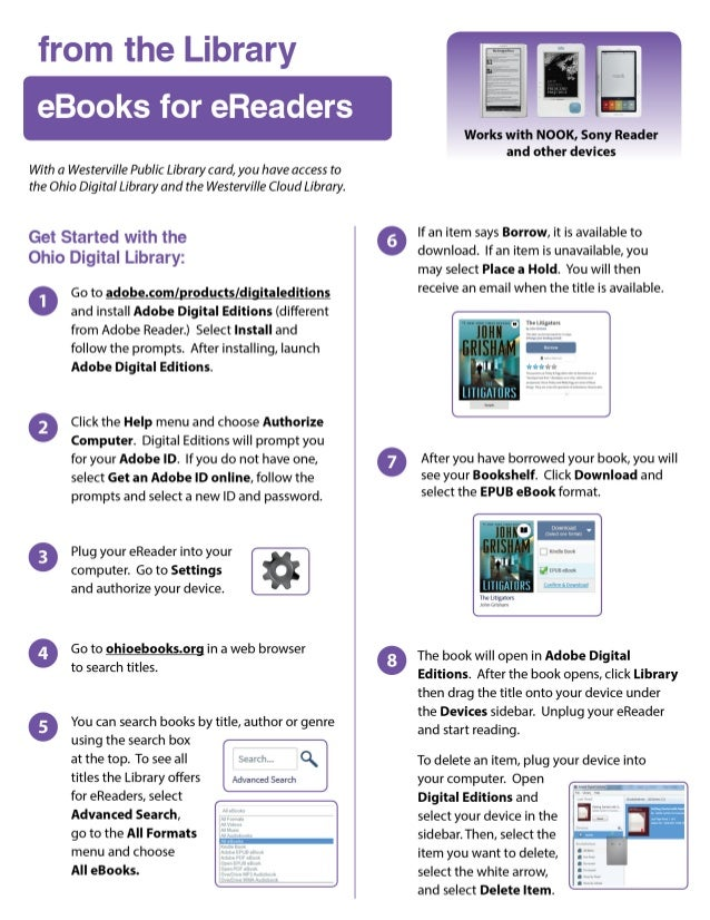 from the Library  eBooks for eReaders     With a Westerville Public Library card,  you have access to the Ohio Digital Lib...