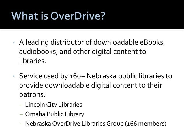 • A leading distributor of downloadable eBooks,  audiobooks, and other digital content to  libraries.  • Service used by 1...