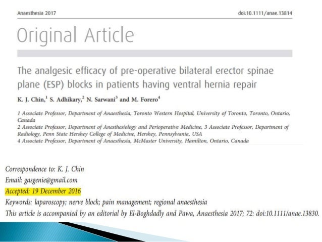 Erector spinae plane block for pain management