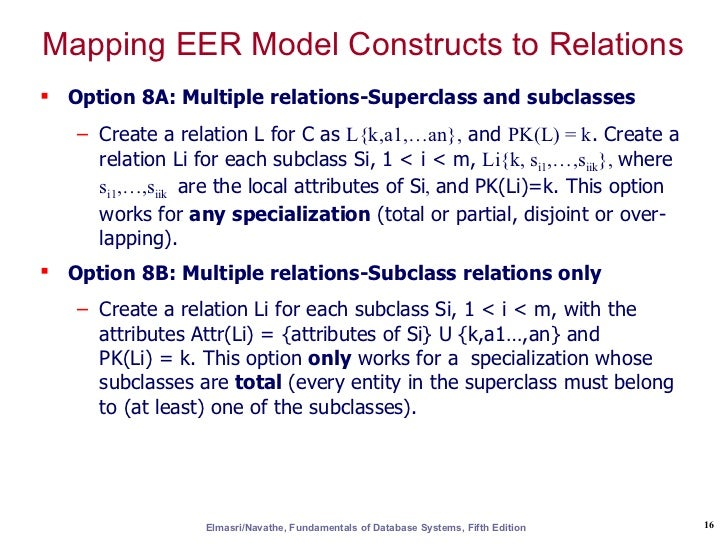 Er eer to relational mapping fifth edition 15 16 mapping eer model ccuart Gallery