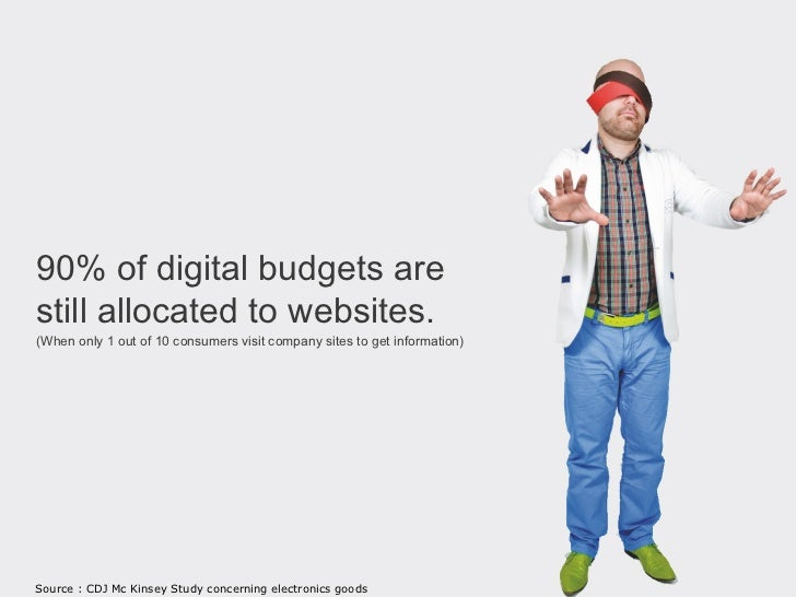 90% of digital budgets arestill allocated to websites.(When only 1 out of 10 consumers visitcompany sites to get informati...