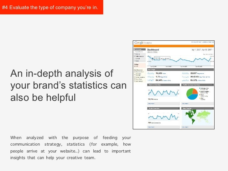 #4 Evaluate the type ofcompany you're in.   An in-depth analysis of   your brand's statistics can   also be helpful   When...