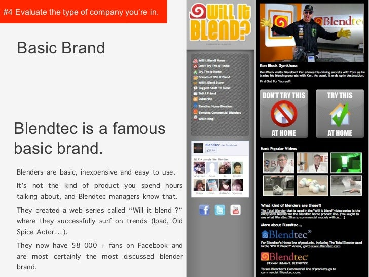 #4 Evaluate the type ofcompany you're in.   Basic Brand  Blendtec is a famous  basic brand.   Blenders are basic, inexpens...