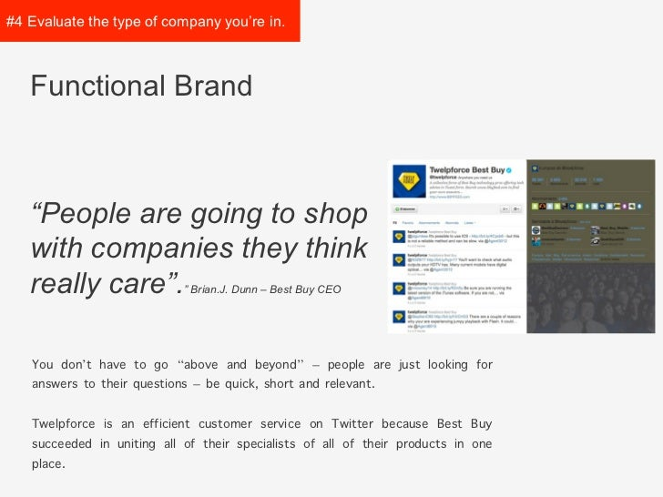 """#4 Evaluate the type of   company you're in.   Functional Brand   """"People are going to shop   with companies they think   ..."""
