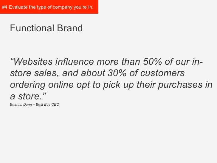 """#4 Evaluate the type of   company you're in.   Functional Brand   """"Websites influence more than 50% of our in-   store sale..."""