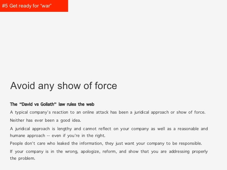 """#5 Get prepared for """"war""""   Avoid any show of force   The """"David vs Goliath"""" law rules the web   A typical company's react..."""