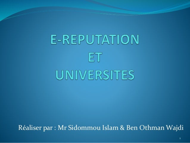 Réaliser par : Mr Sidommou Islam & Ben Othman Wajdi 1
