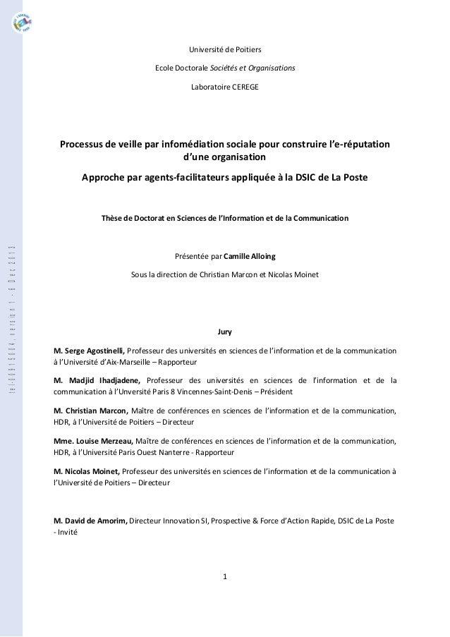 1 Université de Poitiers Ecole Doctorale Sociétés et Organisations Laboratoire CEREGE Processus de veille par infomédiatio...
