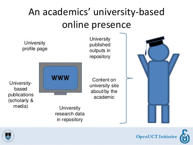 OpenUCT Initiative An academics' university-based online presence University profile page University published outputs in ...