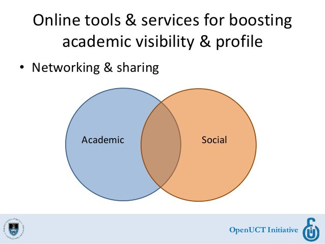 OpenUCT Initiative Online tools & services for boosting academic visibility & profile • Networking & sharing Academic Soci...