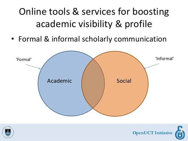 OpenUCT Initiative Online tools & services for boosting academic visibility & profile • Formal & informal scholarly commun...