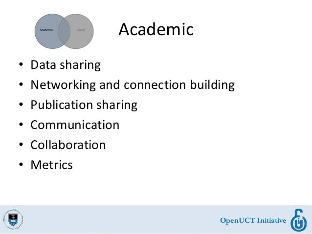 OpenUCT Initiative Academic • Data sharing • Networking and connection building • Publication sharing • Communication • Co...