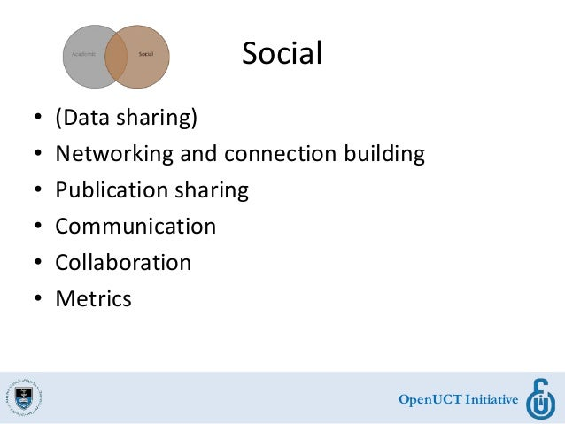 OpenUCT Initiative Social • (Data sharing) • Networking and connection building • Publication sharing • Communication • Co...