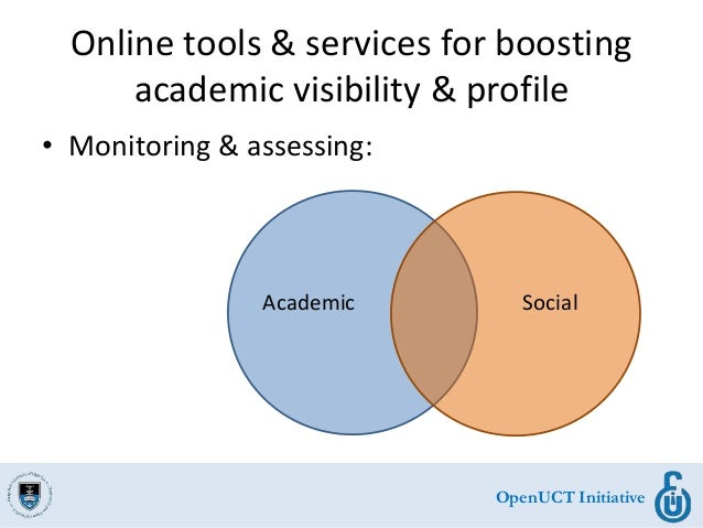 OpenUCT Initiative Online tools & services for boosting academic visibility & profile • Monitoring & assessing: Academic S...