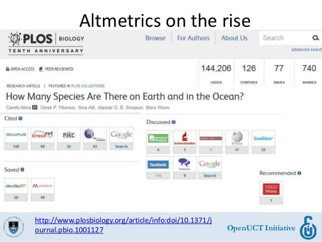 OpenUCT Initiative Altmetrics on the rise http://www.plosbiology.org/article/info:doi/10.1371/j ournal.pbio.1001127