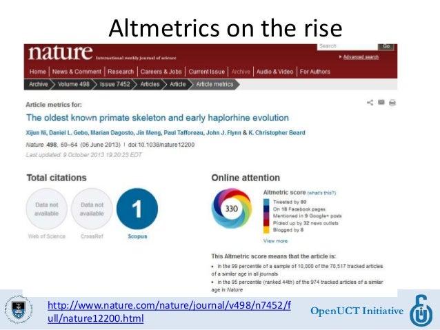 OpenUCT Initiative Altmetrics on the rise http://www.nature.com/nature/journal/v498/n7452/f ull/nature12200.html