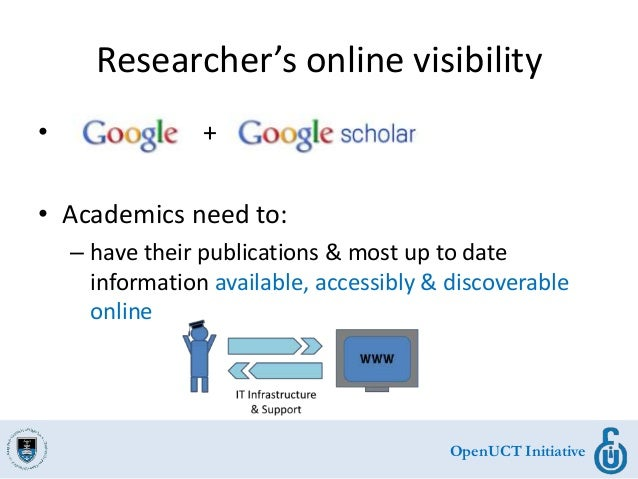 OpenUCT Initiative Researcher's online visibility • + • Academics need to: – have their publications & most up to date inf...