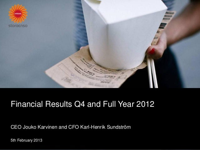 Financial Results Q4 and Full Year 2012CEO Jouko Karvinen and CFO Karl-Henrik Sundström5th February 2013