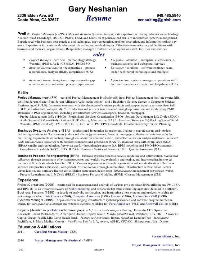 Beautiful E Resume. Gary Neshanian2336 Elden Ave. Regarding E Resume