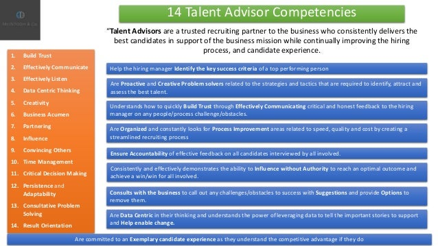 14 Talent Advisor Competencies Help the hiring manager Identify the key success criteria of a top performing person 1. Bui...