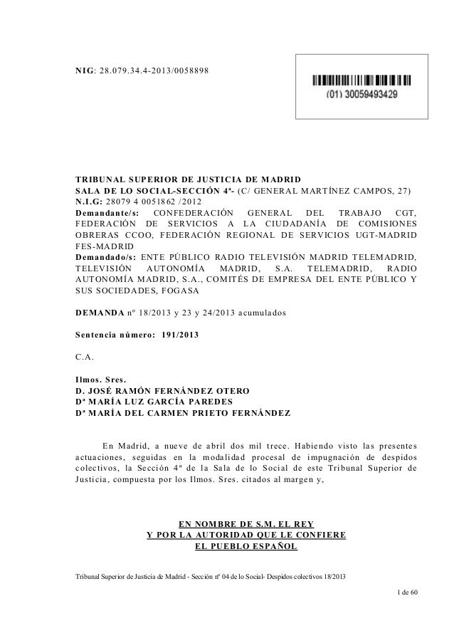Sentencia: ERE improcedente en TeleMadrid TS-191-2013