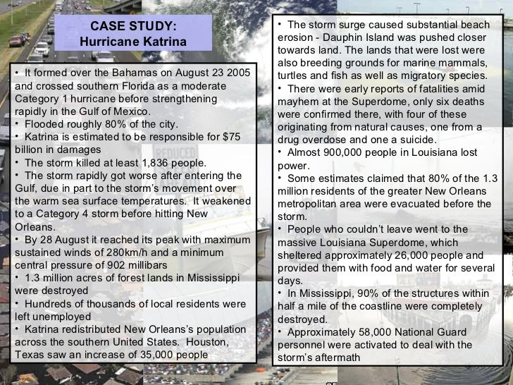 case study on hurrican katrina A secondary school revision resource for gcse geography on hurricanes, including a case study on hurricane katrina.