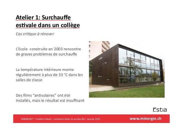 www.minergie.ch   Atelier  1:  Surchauffe   es6vale  dans  un  collège   Cas  cri(que  à  rénover  ...