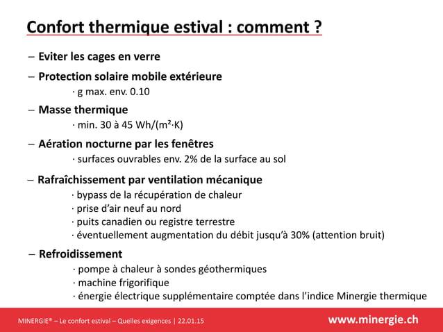 MINERGIE® – Le confort estival – Quelles exigences | 22.01.15 www.minergie.ch Confort thermique estival : comment ?  Prot...