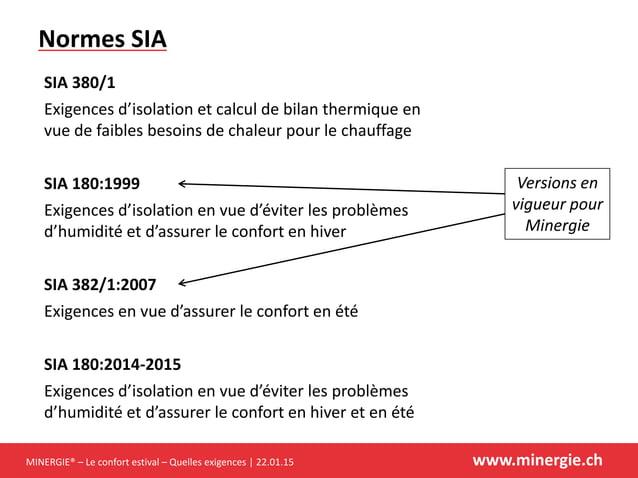 MINERGIE® – Le confort estival – Quelles exigences | 22.01.15 www.minergie.ch Normes SIA SIA 380/1 Exigences d'isolation e...