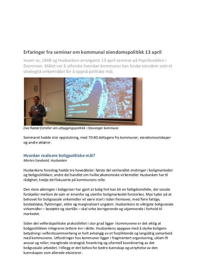 Konferanserapport Fra Drammenskonferansen 2011
