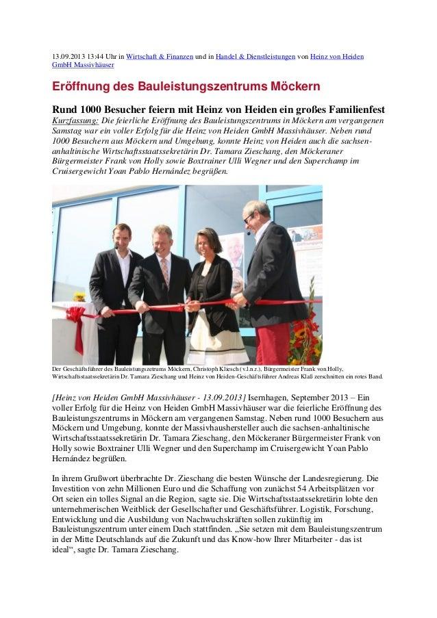 13.09.2013 13:44 Uhr in Wirtschaft & Finanzen und in Handel & Dienstleistungen von Heinz von Heiden GmbH Massivhäuser Eröf...