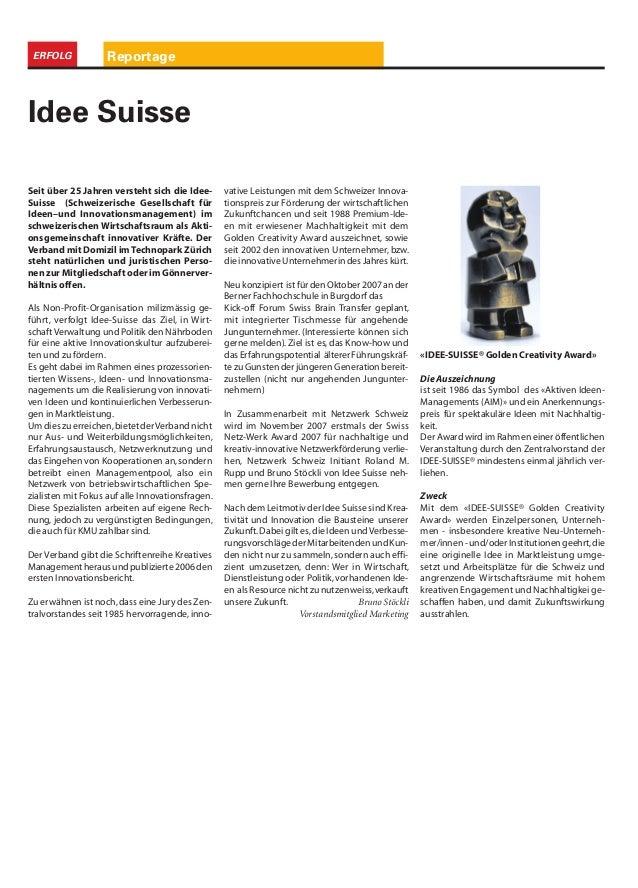 ReportageERFOLG Seit über 25 Jahren versteht sich die Idee- Suisse (Schweizerische Gesellschaft für Ideen–und Innovationsm...