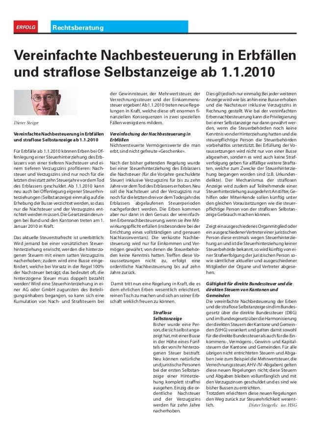 RechtsberatungERFOLG VereinfachteNachbesteuerunginErbfällen und straflose Selbstanzeige ab 1.1.2010 Für Erbfälle ab 1.1.20...
