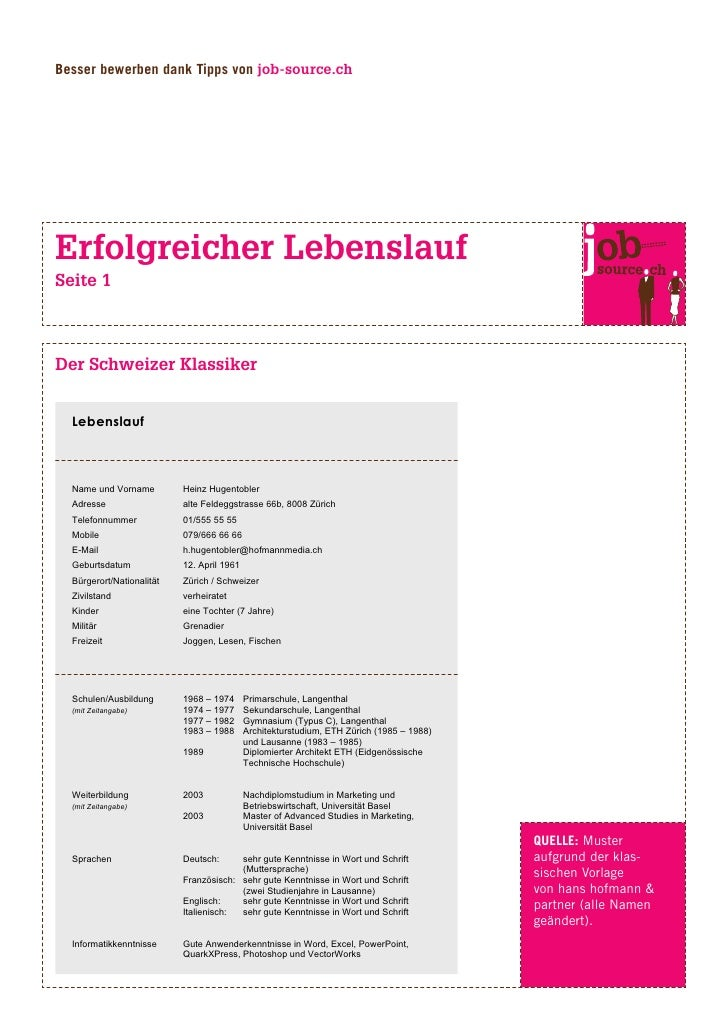 Besser bewerben dank Tipps von job-source.ch     Erfolgreicher Lebenslauf Seite 1    Der Schweizer Klassiker     Lebenslau...