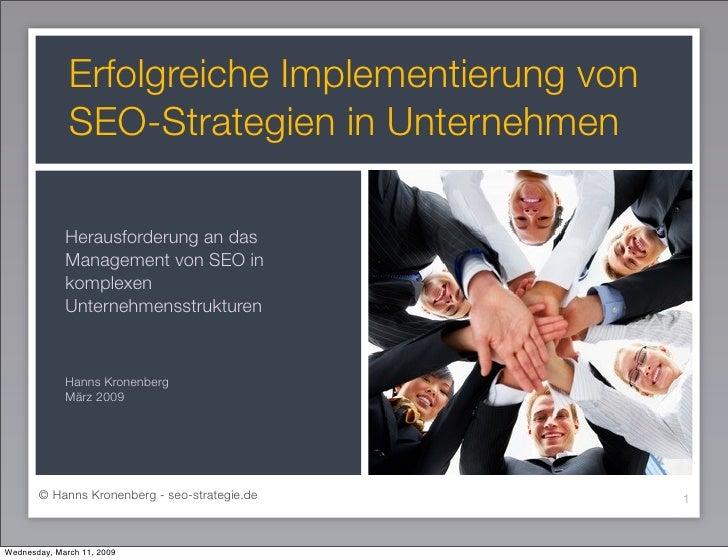 Erfolgreiche Implementierung von               SEO-Strategien in Unternehmen               Herausforderung an das         ...