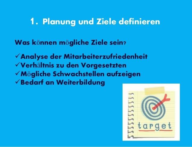 1. Planung und Ziele definieren Was können mögliche Ziele sein? Analyse der Mitarbeiterzufriedenheit Verhältnis zu den V...