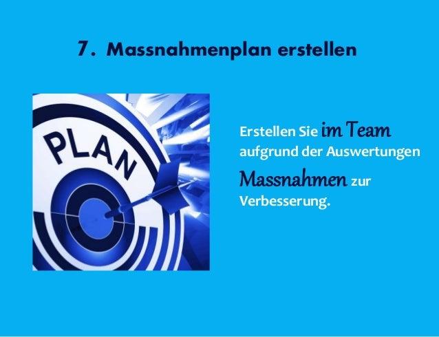 7. Massnahmenplan erstellen Erstellen Sie im Team aufgrund der Auswertungen Massnahmen zur Verbesserung.