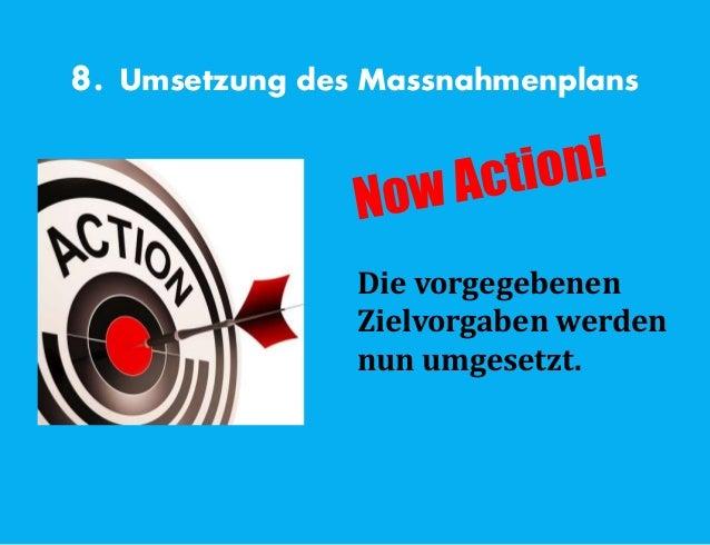 8. Umsetzung des Massnahmenplans Die vorgegebenen Zielvorgaben werden nun umgesetzt.