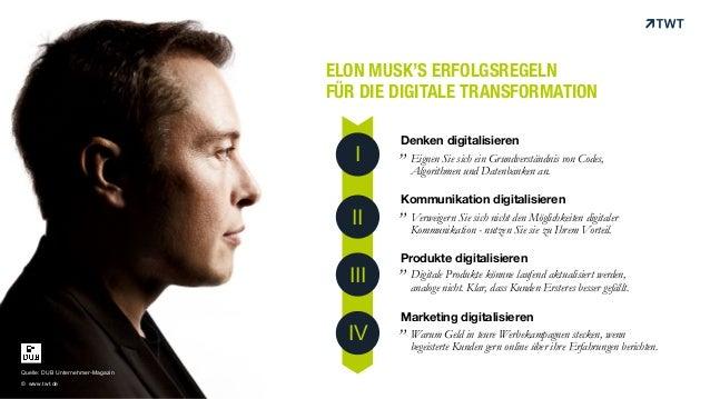 ELON MUSK'S ERFOLGSREGELN FÜR DIE DIGITALE TRANSFORMATION Denken digitalisieren Kommunikation digitalisieren Produkte digi...