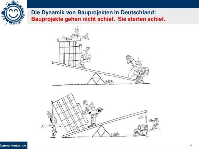 bau-unwesen.de 22 Die Dynamik von Bauprojekten in Deutschland: Bauprojekte gehen nicht schief. Sie starten schief.