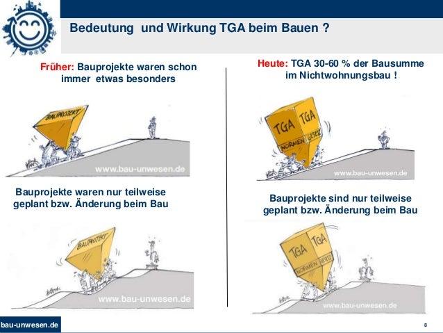 bau-unwesen.de 8 Bedeutung und Wirkung TGA beim Bauen ? Heute: TGA 30-60 % der Bausumme im Nichtwohnungsbau ! Früher: Baup...