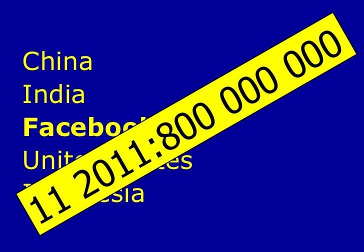 China  India Facebook United States Indonesia 11 2011:800 000 000